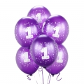 Purple No. 1  Latex Balloons 6 Pack